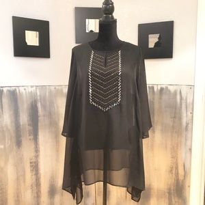 Black Sheer Top With Beaded Detail Sz 1X
